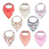 ALVABABY Baby Bandana Drool Bibs Girls Cotton Floral Bandana Bibs for Teething Feeding Baby Shower Gift 8 Pack 8SD09-CA