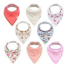 ALVABABY Baby Bandana Drool Bibs Girls 8pcs Pack Cotton Floral Bandana Bibs for Teething Feeding Baby Shower Gift 8SD09-CA
