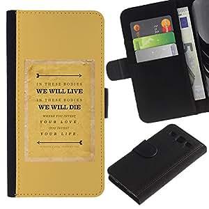 KingStore / Leather Etui en cuir / Samsung Galaxy S3 III I9300 / Citar Texto motivación Mostaza