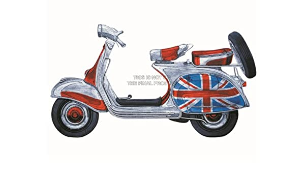 PAINTING ILLUSTRATION TRANSPOR VESPA SCOOTER MODS UNION FLAG ...