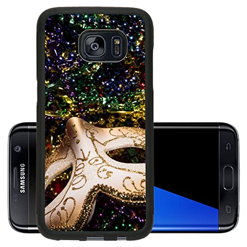Luxlady Premium Samsung Galaxy S7 Edge Aluminum Backplate Bumper Snap Case IMAGE ID: 26111871 Colorful Mardi Gras Mask with beaded (Carnavale Costumes)