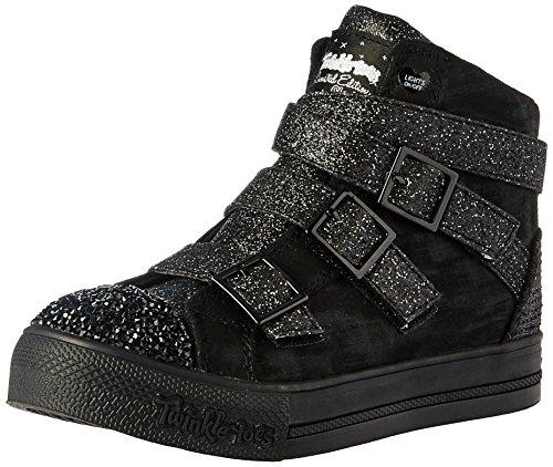 Skechers Kids Girls' Step up-Crisscross Craze Sneaker,Black/Black,11 M US Little Kid