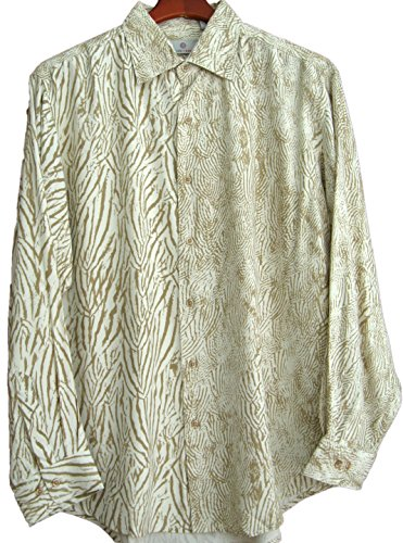 Mens Silk Camp Shirt Button Front Long Sleeved Hawaiian Retro (XXL, Tan)
