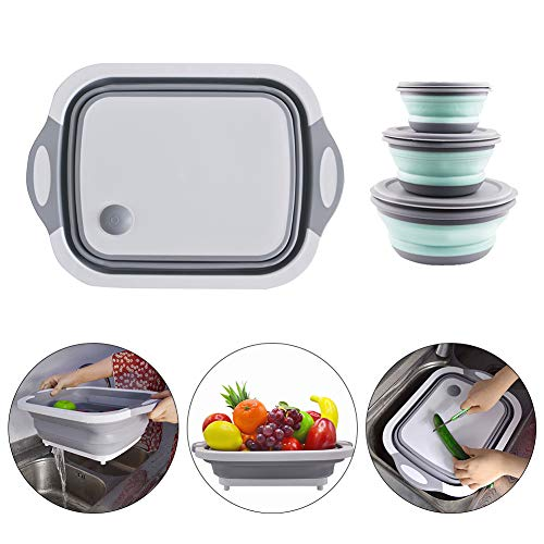 4 Pack Multifunction Over-The-Sink Cutting Board with Collapsible Silicone Bowl with Lid -Collapsible Cutting Board with Dish Tub Foldable Dish Tub - Portable Washing Basin - 3-in-1 Chopping Board (Chop To Pot Cutting Board)