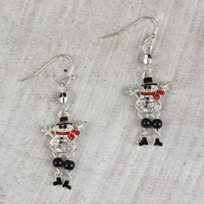 (Seasons Jewelry Glitter Crystal Snowman with Dangling Legs)