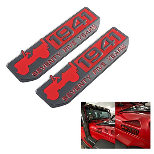 75th Year Emblem 1941 Anniversary 75 Year Badge for Jeep Grand Cherokee,Wrangler,Compass (Red)
