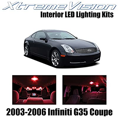 XtremeVision Interior LED for Inifiniti G35 Coupe 2003-2006 (12 Pieces) Red Interior LED Kit + Installation Tool: Automotive