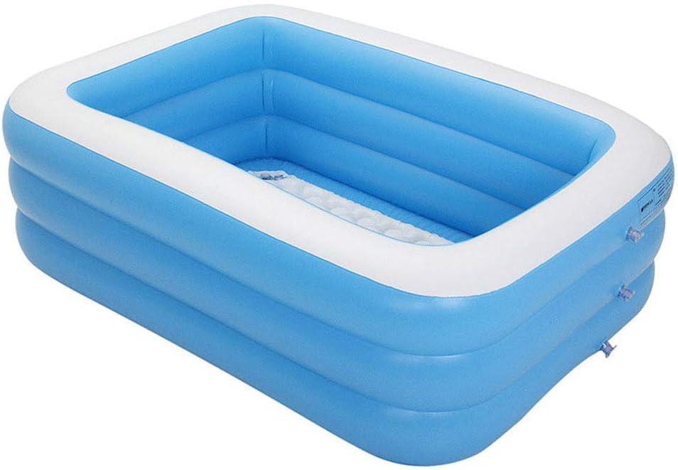 GJNVBDZSF Piscina, pontón Inflable Juegos de recreación acuática para niños Piscina Rectangular Gruesa Azul y Blanca, Piscina Inflable para niños, 1.5M de Tres Anillos