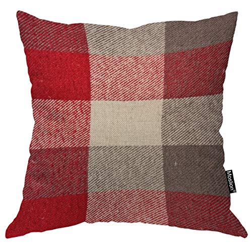 Moslion Gingham Pillows Fuzzy Red and Grey Tartan Plaid Checkered Lattice British Style Throw Pillow Cover Decorative Square Accent Cotton Linen Home Pillow Case 18X18 Inch (Red Pillows Grey And)