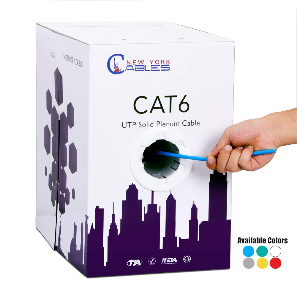 Cat6 Quality Plenum 1000ft UTP Solid Bulk 550MHz Ethernet Network Cable Blue