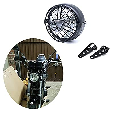Universal Motorcycle Headlight, 6'' Halogen Head Lamp with Lampshade Cover Retro for Harley Cafe Racer Bobber Chopper Kawasaki Suzuki CG125 GN125 (clear): Automotive