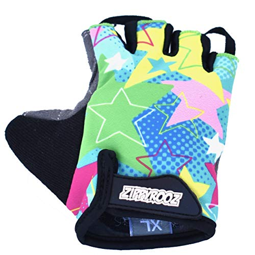 (ZippyRooz Toddler & Little Kids Bike Gloves for Balance and Pedal Bicycles (Formerly WeeRiderz) for Ages 1-8 Years Old. 6 Designs for Boys & Girls (Stars, Little Kids XL (7-8)))
