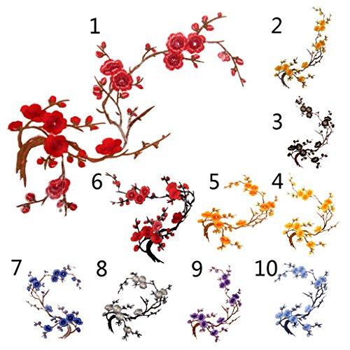 Fityle 2ピース 梅の花 刺繍 レース アップリケ パッチ ドレス飾り 付襟 つけ襟 絹 花柄 裁縫対応の商品画像