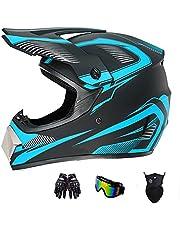 SanQing Motocross Helmet Fashion Youth Dirt Bike Helmet DOT Off-Road Mountain Bike Motorcycle Helmet,Unisex-Adult (Gloves, Goggles, Face Shield), 4Pcs Set