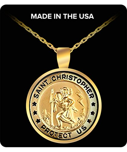 christopher necklace Gold-Filled Small Round Saint Christopher Pendant Necklace with Gold Plated best gift for christopher fans