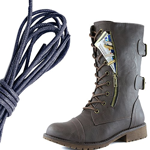 DailyShoes Womens Military Lace Up Buckle Combat Boots Mid Knee High Exclusive Credit Card Pocket, Navy Brown Pu