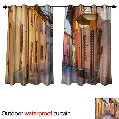 WilliamsDecor Italy Outdoor Curtain for Patio Narrow Paves Street Among Old Houses in Town Serralunga DAlba Piedmont W72 x L72(183cm x 183cm)