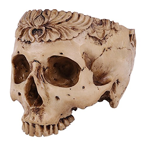 Flameer 19.5cm Human Skull Design Flower Pot Planter Container Halloween Home Bar Decor