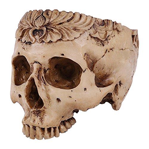 Flameer 19.5cm Human Skull Design Flower Pot Planter Container Halloween Home Bar Decor