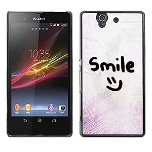 Sonrisa motivación sonriente del Emoticon - Metal de aluminio y de plástico duro Caja del teléfono - Negro - Sony Xperia Z L36H