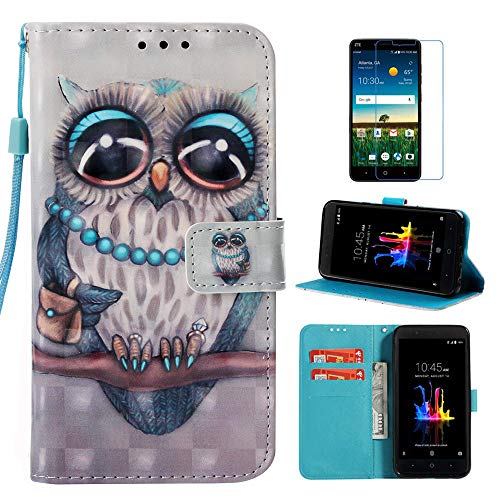 ZTE Blade Z Max Case, ZTE Sequoia Case, Everun [Wrist Strap] Premium PU Leather Magnetic Wallet Case Cover for ZTE ZMax Pro 2/ Z982(Not fit for ZTE ZMAX PRO Z981) (Blue Owl)