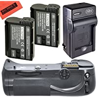 Battery And Charger Kit for Nikon D800, D810 Digital SLR Camera Includes Vertical Battery Grip + Qty 2 Replacement EN-EL15 Batteries + Rapid AC/DC Charger + More!!
