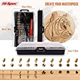Hi-Spec 30W Wood Burning Pyrography Kit - Soldering Iron & 22pc Accessory Kit with Copper Stamps, Tips, Hot Cutting Blade, and Letters Stencil in a Compact Storage Box