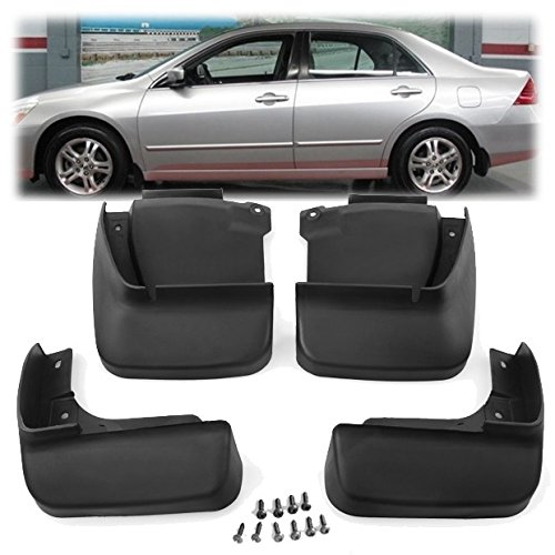 Set of 4Pcs Black ABS Plastic Splash Guards Mud Flaps Fender Fit for Honda Accord Sedan 4DR 2003-2007