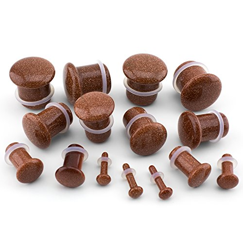 Urban Body Jewelry 8 Gauge (8G - 3mm) Goldstone Glass Single Flare Plugs (1 Pair)