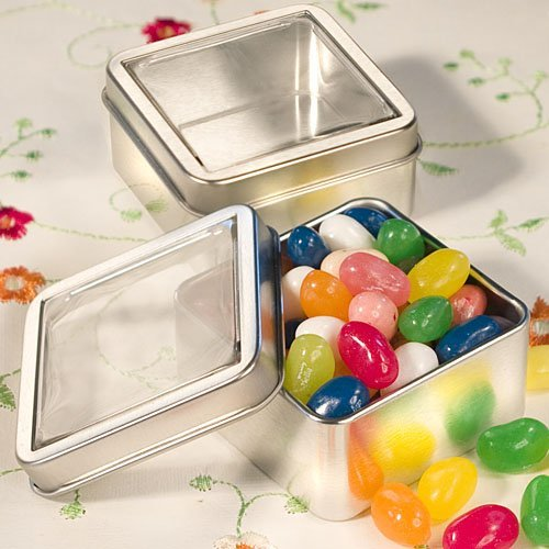 Mint Tin Wedding Favors: Clear Topped Mint Tins, 46 Labels Square Favor Tins