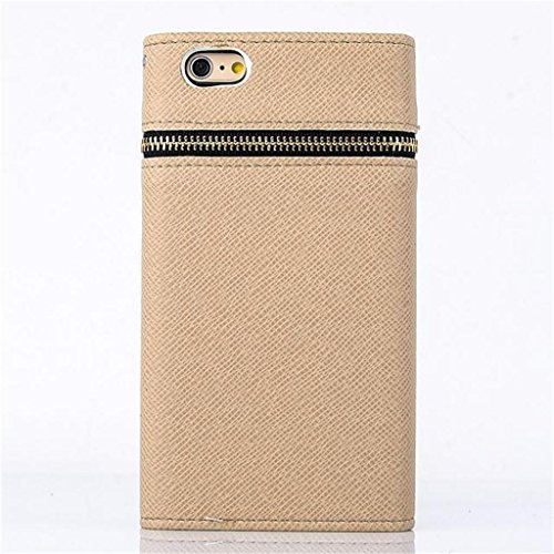 """(Case for Iphone 6 Plus/5.5 inch) Bon Venu Unique Textured PU Leather Zipper Leather Flip Wallet Card Holder with Golden rivets Magnetic Money Pocket Case Multicolor Phone Bag Cover for Apple iphone 6 plus 5.5"""" case+Screen Protector (Pattern 13)"""