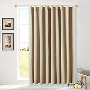 """Glass Door Curtains for Window - Wide Thermal Curtain Panels, Sliding Door Drapes, Extra Wide Curtains by NICETOWN (Beige, 100"""" Wide x 95"""" Long)"""