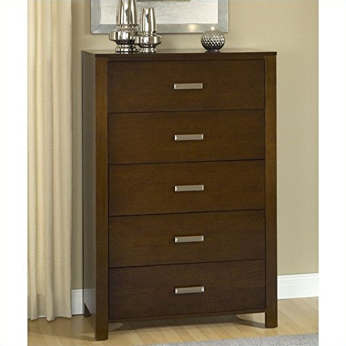 Modus Furniture Riva Five Drawer Chest in Chocolate Brown