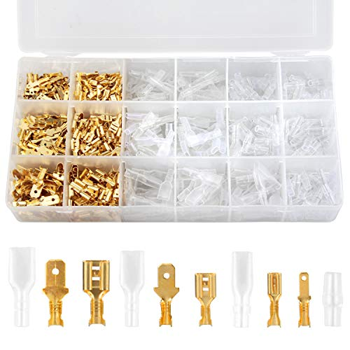Wire Spade Connectors Kit,Preciva 300PCS Male and Female Wire Crimp Terminals Set of 2.8mm/ 4.8mm/6.3mm with 300PCS Insulated Sleeves
