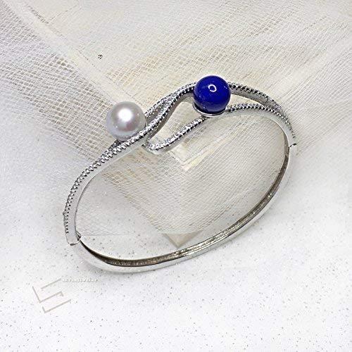 Gemstone And Pearl In 925 Silver Bracelet 9-10MM AAA Grade Pearl/& Blue Lapis Lazuli In Sterling Silver Bangle Bracelet