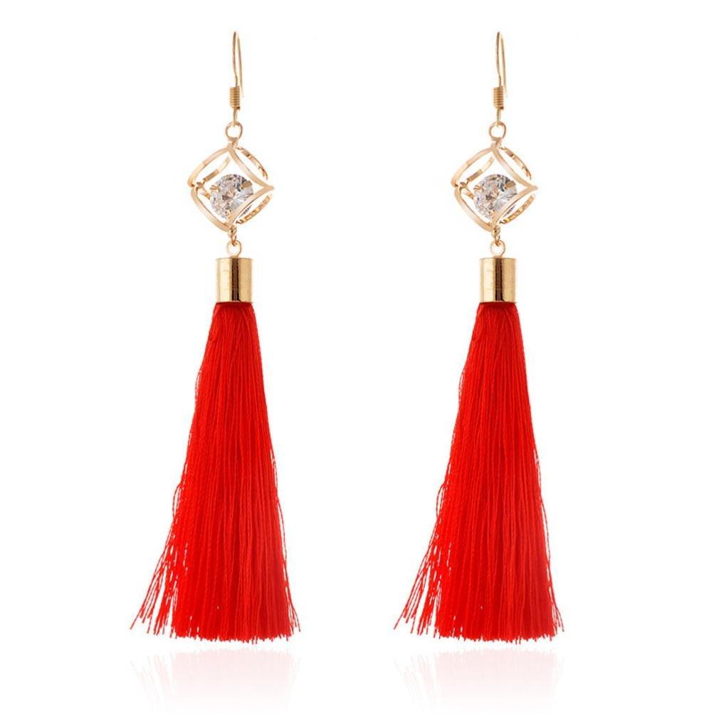 Minshao Bohemian Women Jewelry Fashion Woolen Tassels Earring Gorgeous Hoop Earrings (Red)