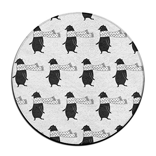 (Sppmet Cartoon Bear Soft Coral Velvet Circular Carpet Doormat Bedroom Non-Slip Decor Area Rug 23.6 Inch)