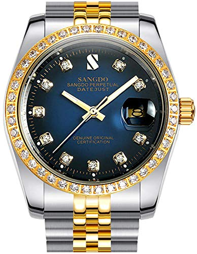 Gosasa Diamonds Men's Gold Stainless Steel Band Automatic Mechanical Watches (A- Men- Two Tone Blue - Band Diamond Watch
