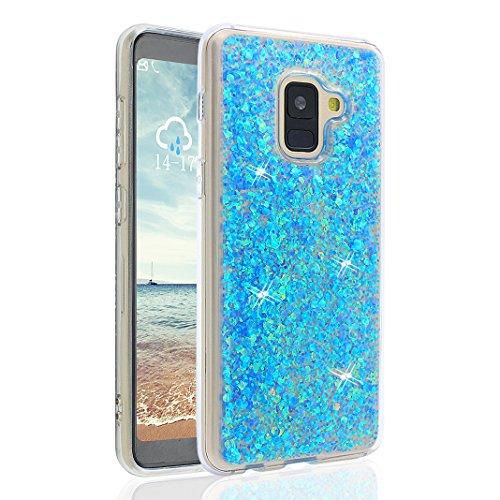Funda Galaxy A8 2018, Moon mood Galaxy A5 2018 Brillar Carcasa de Teléfono Glittar Ultra Delgado Ligero del Gel TPU Suave Silicona Funda Caso para Samsung Galaxy A8 2018/A5 2018 A530 5.6 pulgadas Prot Azul