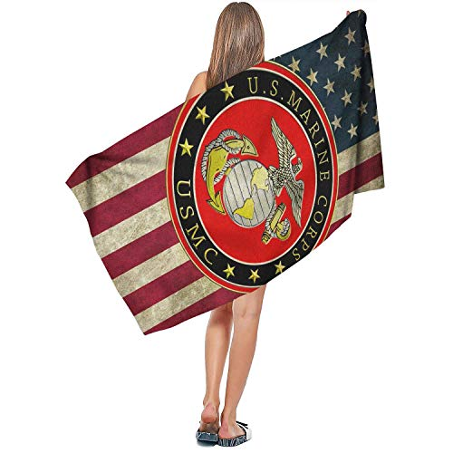 Candlly Marine Corps USMC Super Long Beach Towels Fade-Resistant Washcloths Towels Summer Beach Towels for Outdoor Gym Spa Bathroom