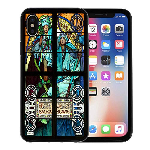 Emvency Phone Case for Apple iPhone Xs case,Prague Czech Republic March 25 The Nouveau Stained Glass Window by Alfons Mucha St Vitus Cathedral for iPhone X Case,Rubber Border Protective Case,Black