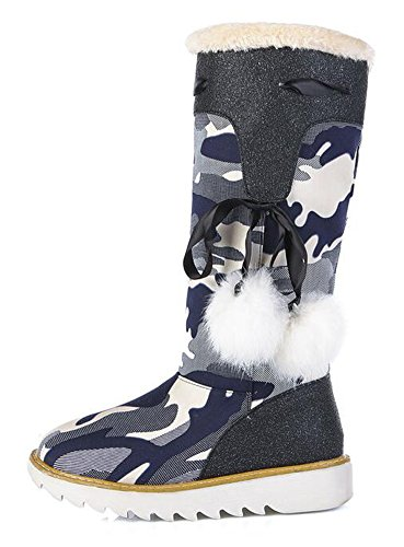 CHFSO Womens Stylish Camouflage Canvas Fully Fur Lined Pull On Mid Calf Low Heel Platform Winter Snow Boots Blue x3E7c6XG
