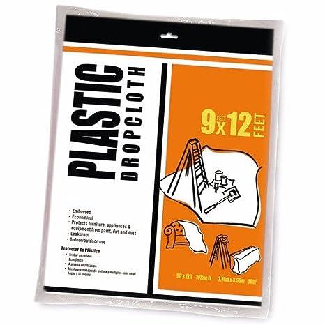 Wideskall 12' x 9' Feet All Purpose Clear Plastic Drop Cloth .6 mil 108 SQ. Feet (Pack of 10) Wideskall®