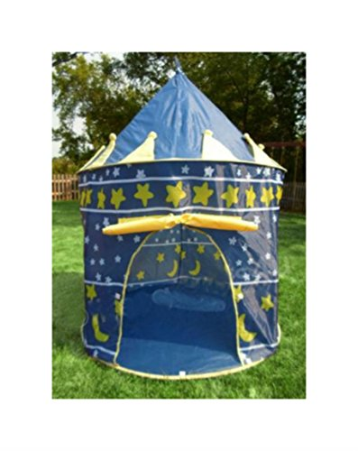 PORTABLE FOLDING BLUE PLAY TENT CHILDRENS KIDS CASTLE CUBBY PLAY HOUSE from Unknown