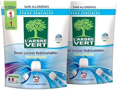 LArbre Vert 20 Detergente en dosis hidrosolubles, hipoalergénico ...