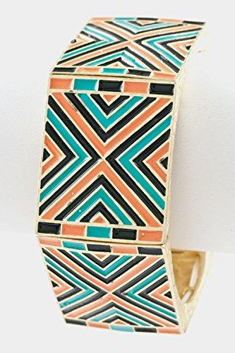 Trendy Fashion Jewelry Tribal Edge Epoxy Stretch Bangle By Fashion Destination   (Turquoise/Coral) Bangles Trendy Jewelry