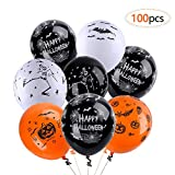 Balloons for Halloween Decoration,100Pcs 12 Inch Premium Quality Latex Balloons Skeleton Bat Specter Pumpkin Spider Web Latex Balloons for Halloween Party Decorative