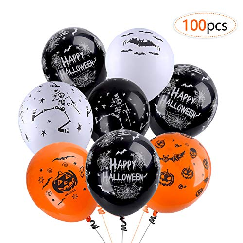 Balloons for Halloween Decoration,100Pcs 12 Inch Premium Quality Latex Balloons Skeleton Bat Specter Pumpkin Spider Web Latex Balloons for Halloween Party Decorative ()