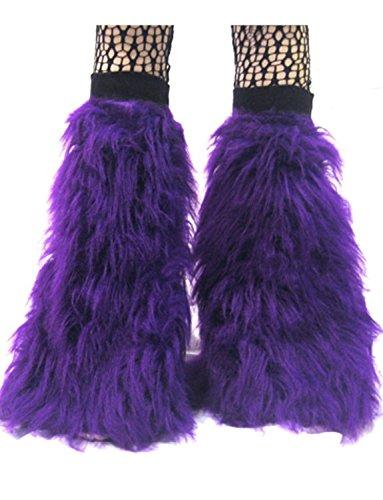 Neon UV Fluffy Legwarmers (Purple) [Apparel] (Pink Fluffies Leg Warmers)