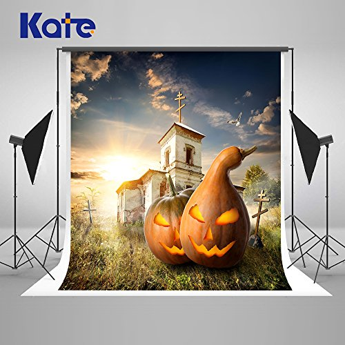 Pumpkin Haunted Castle Backdrops for Photography Halloween Collapsible Cotton Nostalgic Home Décor Background Photo Studio Props pour Toussaint 5x7Ft ...